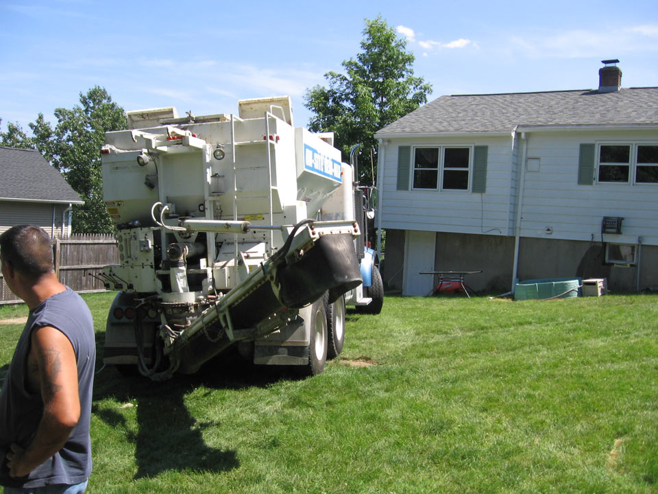 Delivering concrete for an outdoor patio