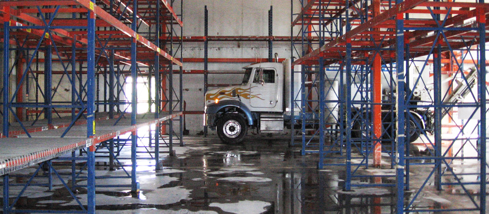American Ready Mix Short Load Concrete Truck in a Tight Delivery Space