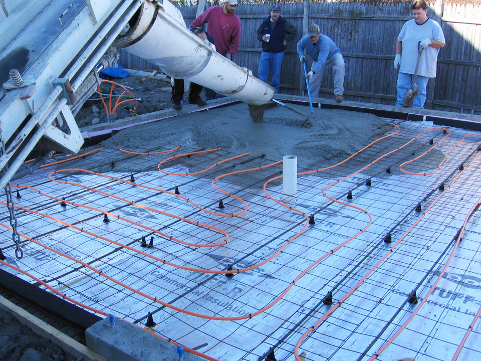 Pours Over Residential Heat Tubing Mixed On Site
